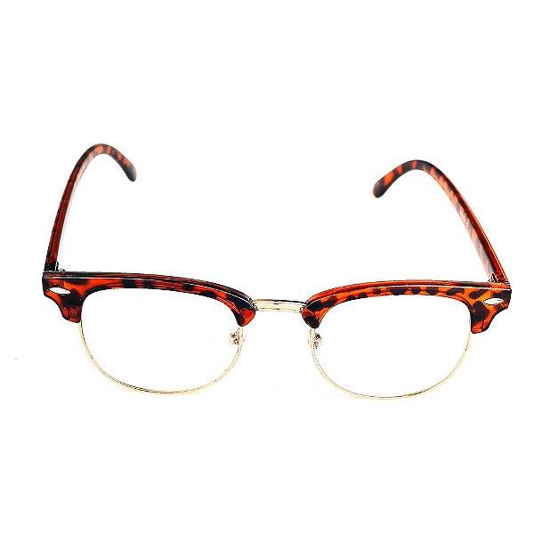 Óculos Receituário Titania Animal Print com Dourado Arredondado