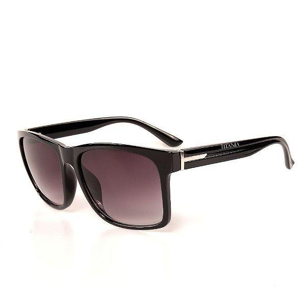 Óculos de Sol Titania Quadrado Preto com Detalhe Prata