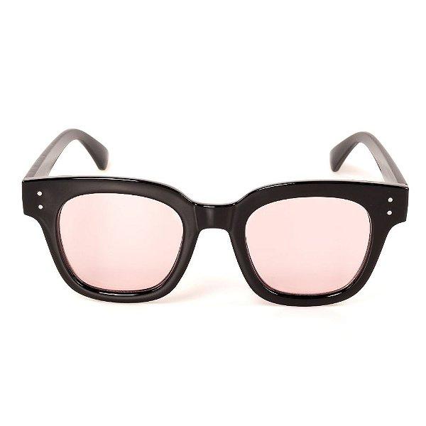 Óculos de Sol Titania Quadrado Preto Lente Rosa