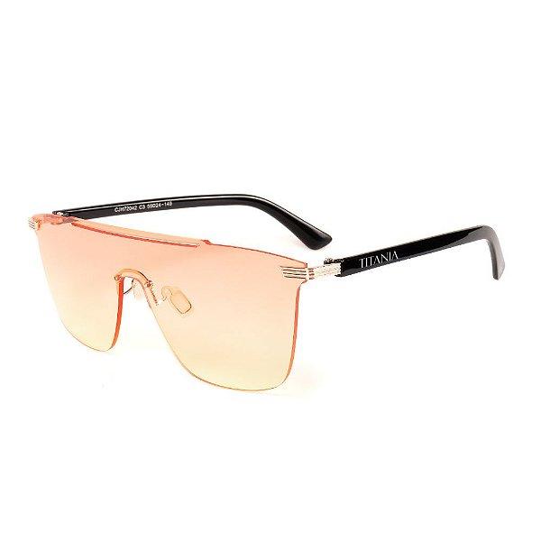 Óculos de Sol Titania Haste Preta com Lente Degradê Rosa Amarelado