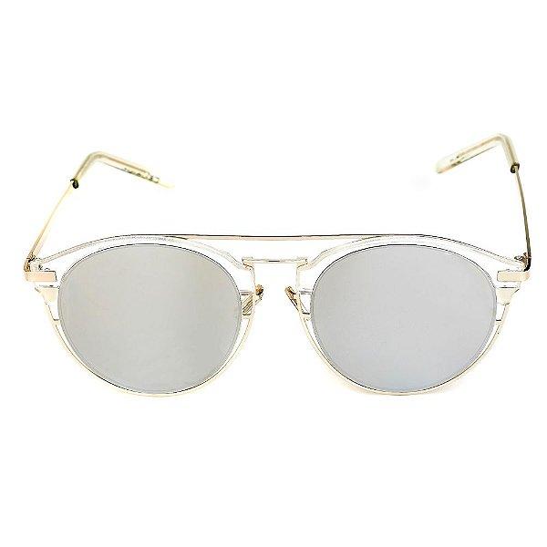 Óculos de Sol Titania Arredondado Prata Translúcido