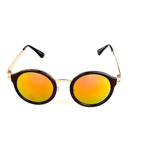 Óculos de Sol Titania Redondo Marrom e Dourado