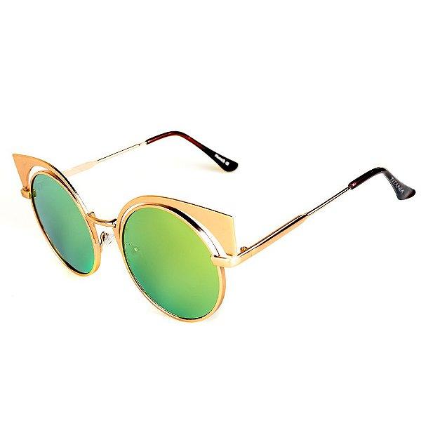 Óculos de Sol Titânia Dourado com Lente Espelhada Collors