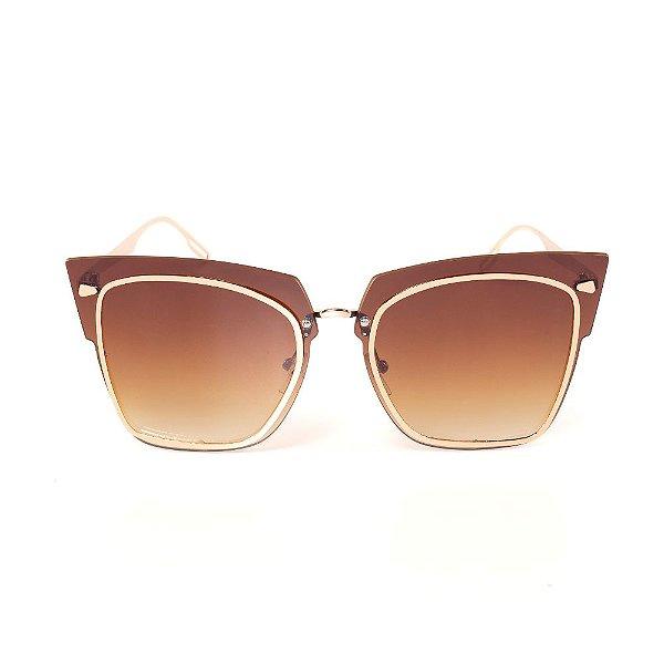 Óculos de Sol Titania Dourado com Lente Degradê Marrom