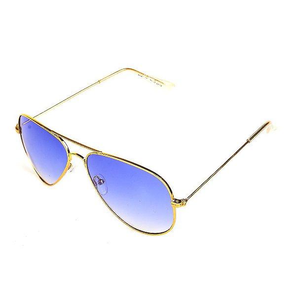 Óculos de Sol Titânia Aviador Dourado com Lente Degradê