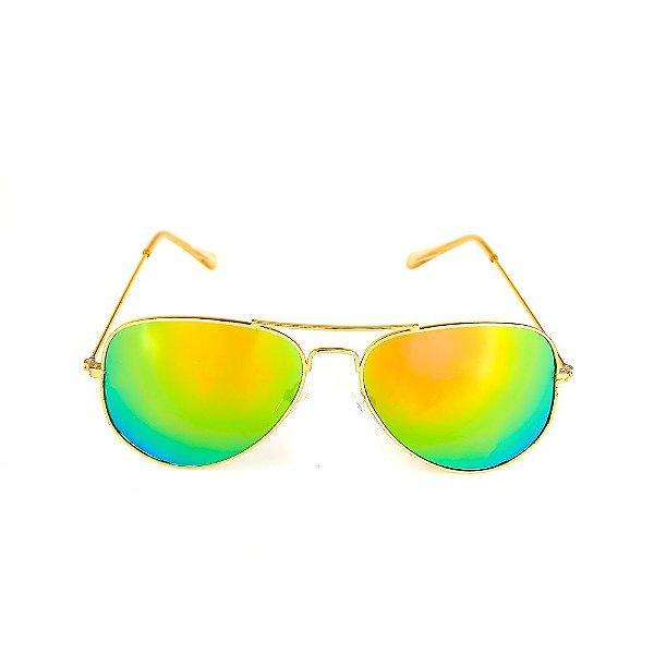 Óculos de Sol Titania Dourado com Lente Espelhada Colors