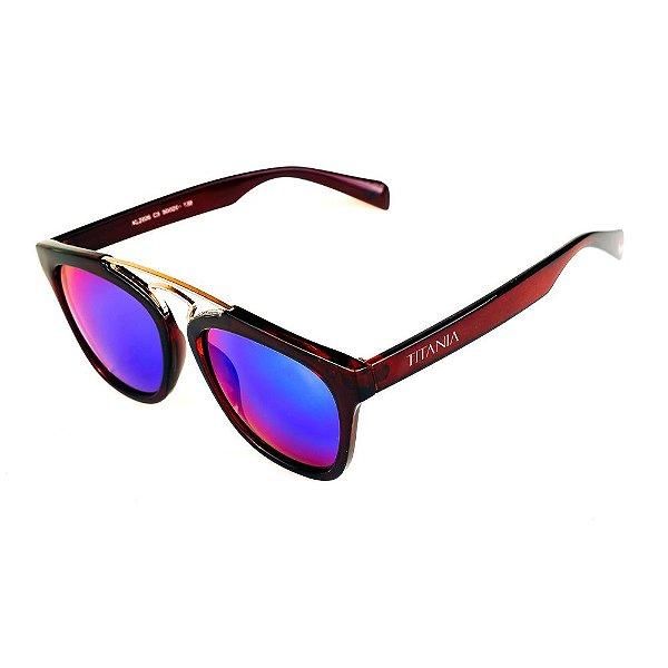 Óculos de Sol Titânia Marrom e Dourado Lente Espelhada Azul