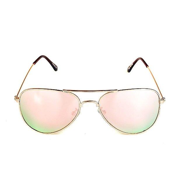 Óculos de Sol Titânia Aviador Dourado com Lente Espelhada Colors