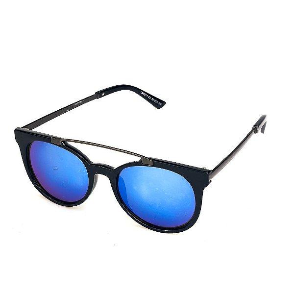 Óculos de Sol Titânia Redondo Preto com Grafite Lente Espelhada Azul