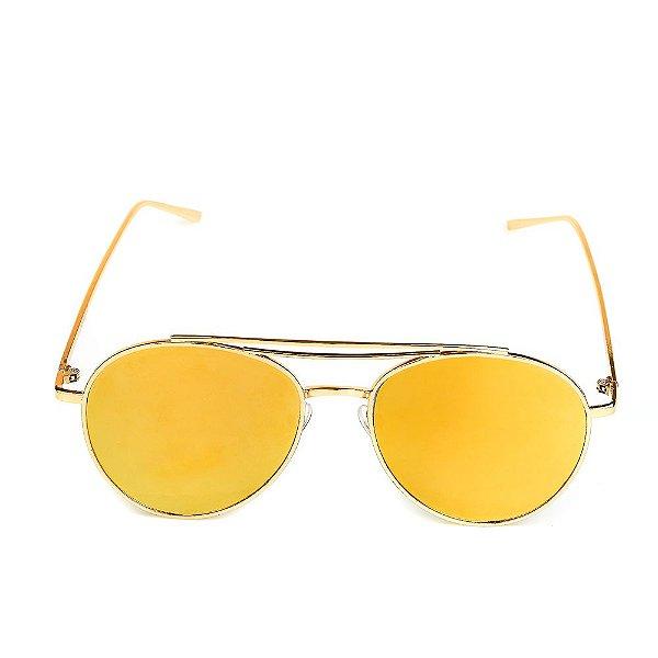 Óculos de Sol Titânia Aviador Redondo Dourado com Lente Espelhada