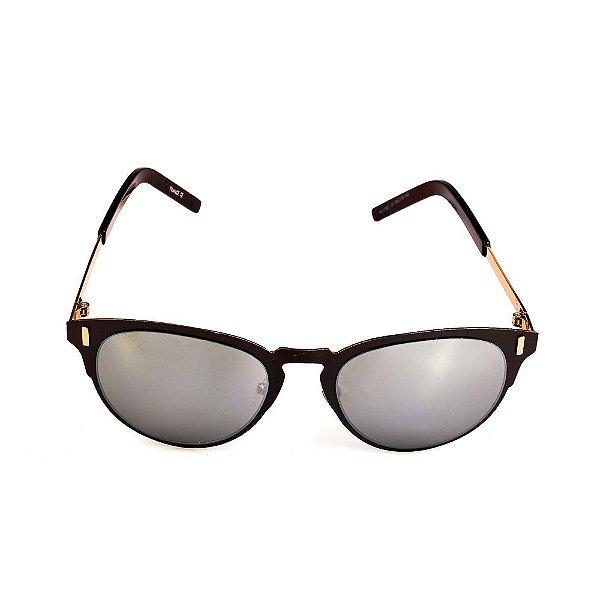 Óculos de Sol Titania Marrom com Dourado e Lente Espelhada Prata