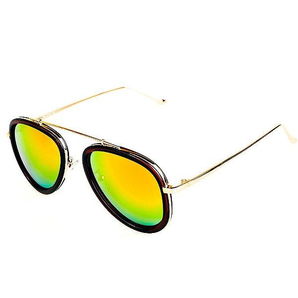 Óculos de Sol Titania Arredondado Dourado e Marrom com Lente Espelhada Collors