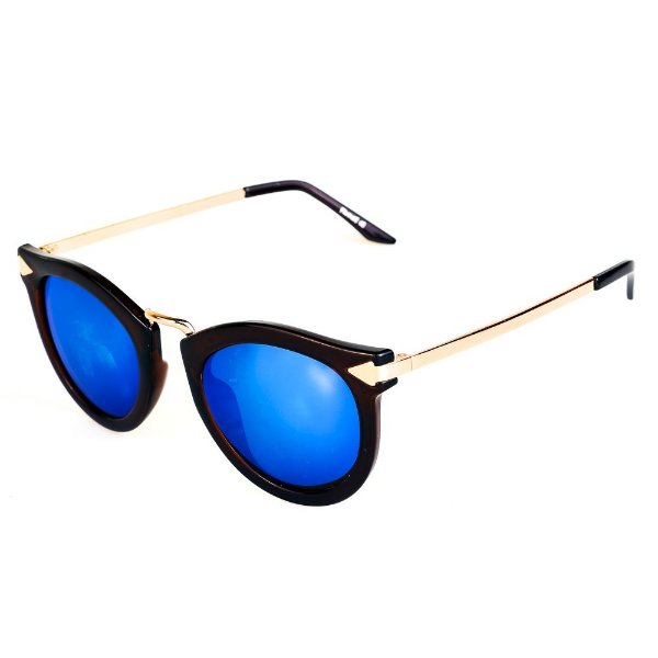 Óculos de Sol Titania Marrom com Dourado e Lente Espelhada Azul
