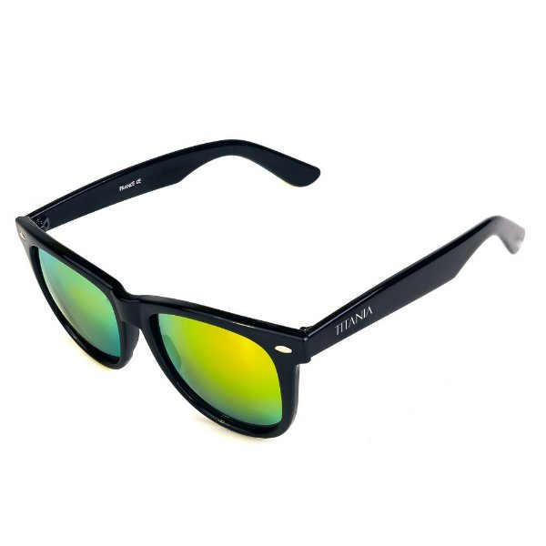 Óculos de Sol Titania Arredondado Preto com Lente Espelhada Collors