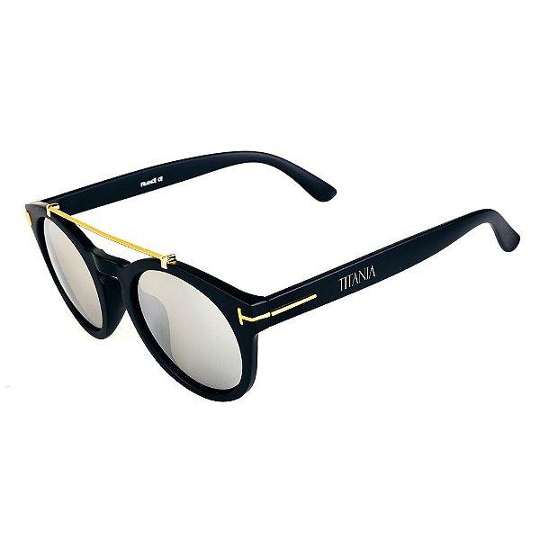 Óculos de Sol Titania Arredondado Preto Fosco com Detalhes em Dourado