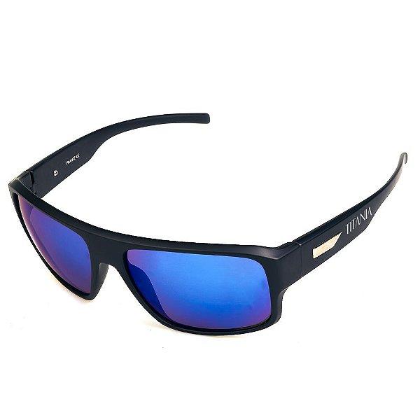 Óculos de Sol Titania Esportivo Preto Fosco com Lente Espelhada Azul Escuro