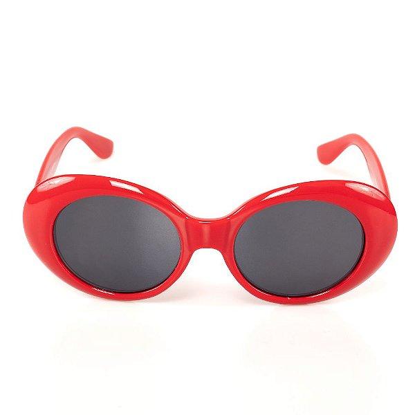 Óculos de Sol Titania Redondo Vermelho com Lente Fumê