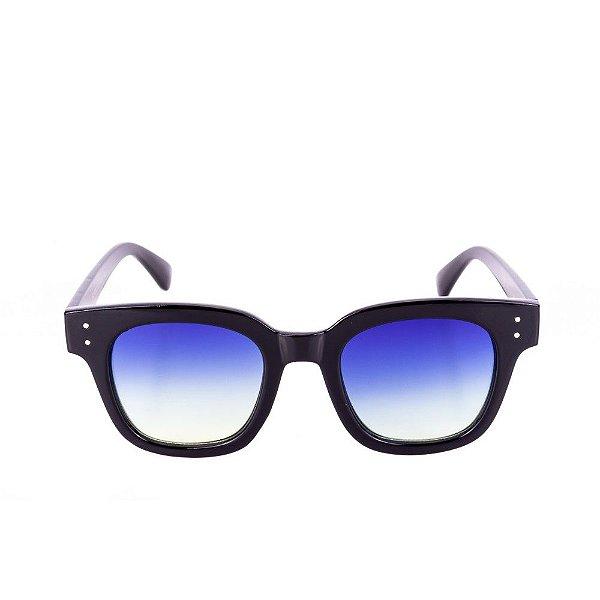 Óculos de Sol Conbelive Quadrado Preto com Lente Azul Degradê