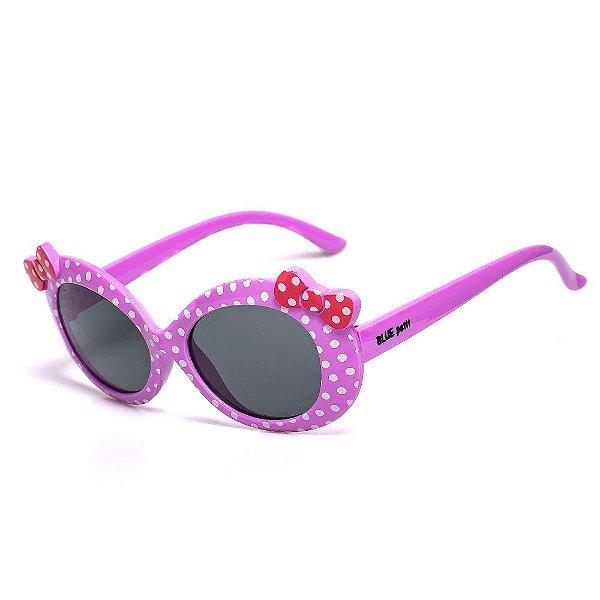 Óculos de Sol Infantil ZJim Redondo Lilás com Lacinho Rosê