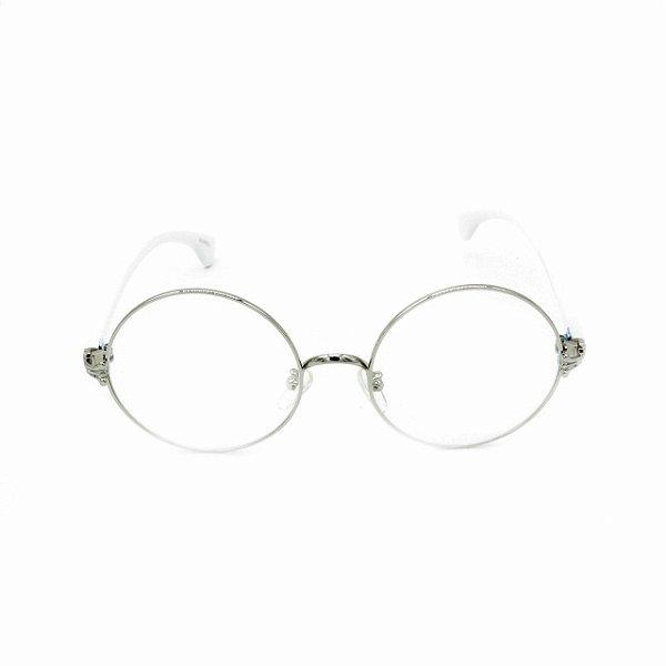 Óculos Receituário Bad Rose Prata com Branco - RM0015C5