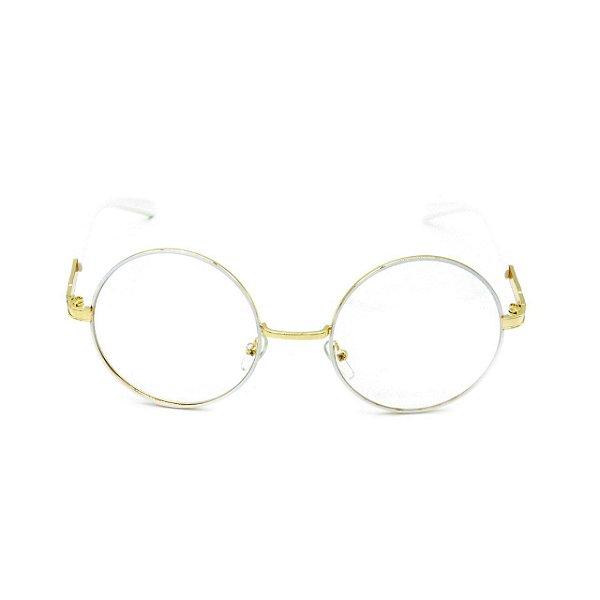 Óculos de Grau Redondo Bad Rose Dourado com Branco - RB9011