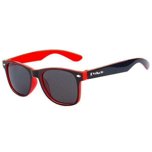 Óculos De Sol Infantil Eva Solo Quadrado Preto Com Vermelho