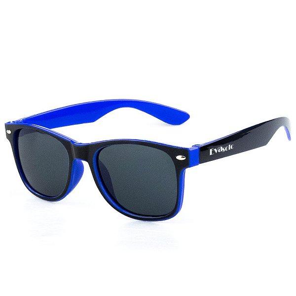 Óculos De Sol Infantil Eva Solo Quadrado Preto Com Azul Escuro