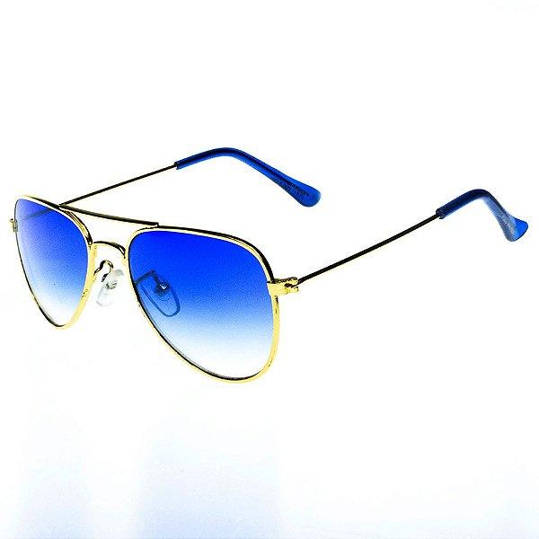 Óculos De Sol Infantil Eva Solo Aviador Dourado Com Lente Degrade Azul