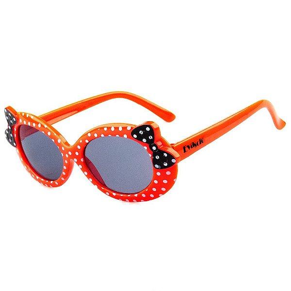 Óculos de Sol Infantil Eva Solo Redondo Vermelho de Bolinhas com Laço Preto