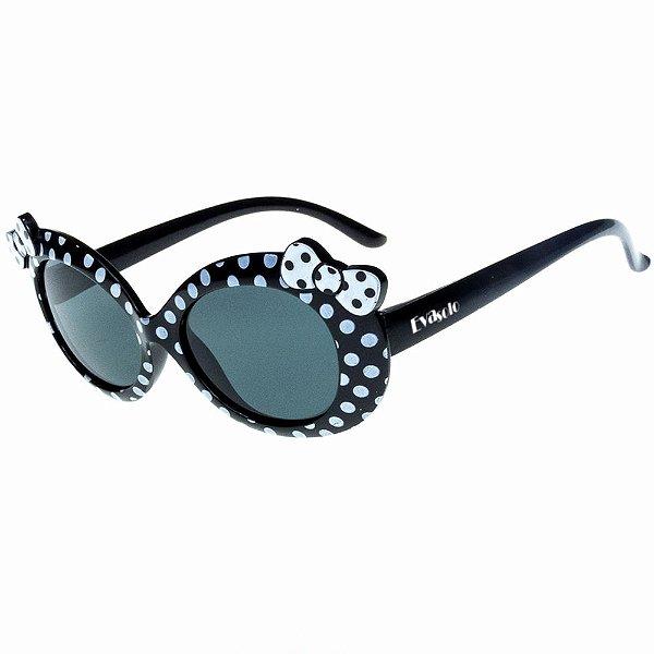 Óculos de Sol Infantil Eva Solo Preto de Bolinhas com Laço Banco