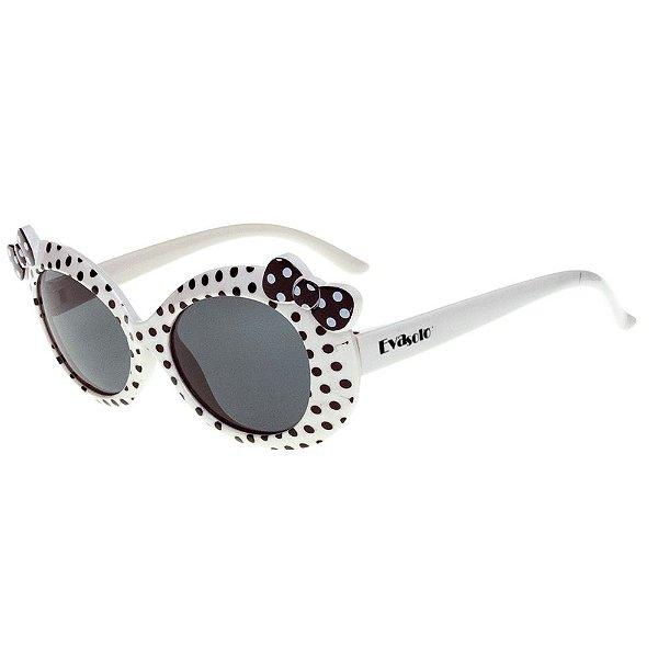 Óculos de Sol Infantil Eva Solo Branco de Bolinhas com Laço Preto