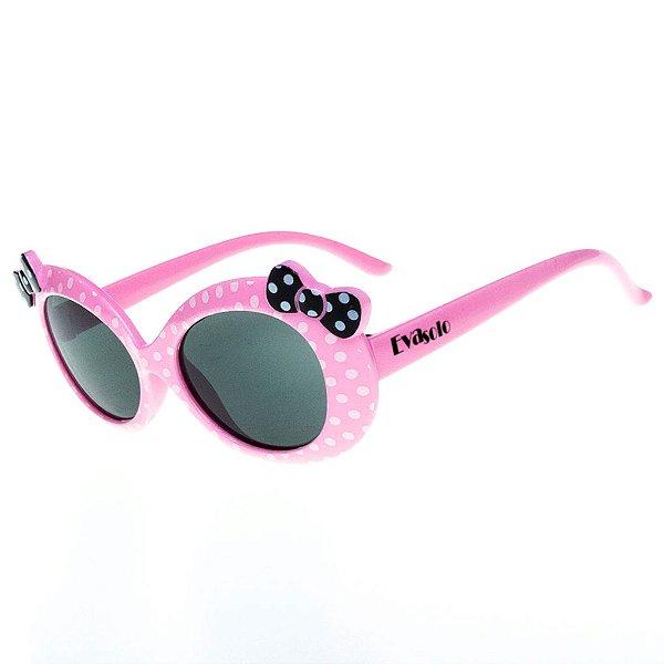 Óculos de Sol Infantil Eva Solo Rosa Claro De Bolinhas com Laço Preto