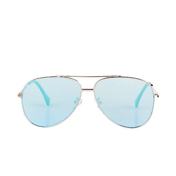 Óculos de Sol Aviador Prorider Prata com Lente Azul - 8014C2