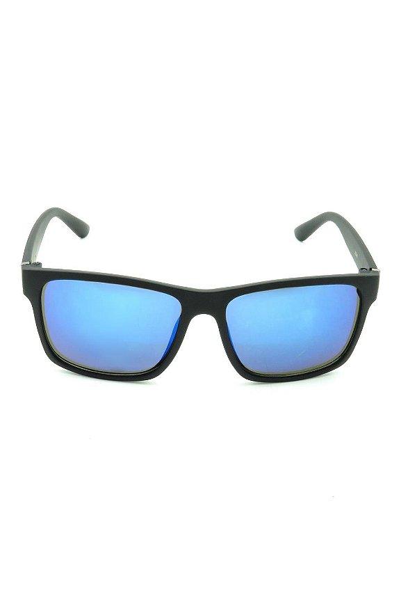 Óculos de Sol Quadrado Prorider Preto Fosco com Lente Espelhada Azul - 25248-2
