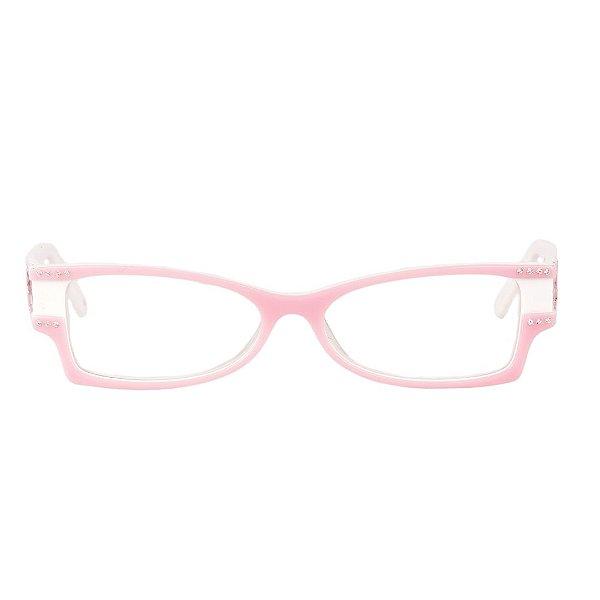 Óculos de Grau Retro Prorider Rosa e Branco com Detalhe em Pedraria - 040