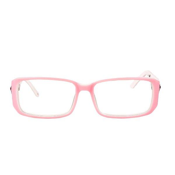 Óculos de Grau Retro Prorider Rosa e Branco com Detalhe Prata - TD8005C3