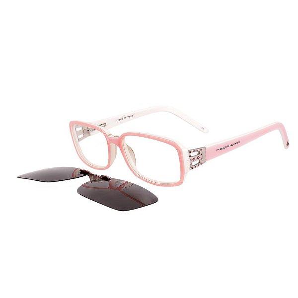 Óculos de Grau e de Sol Clip-on Magnetico Retrô Prorider Rosa e Branco com Haste Média