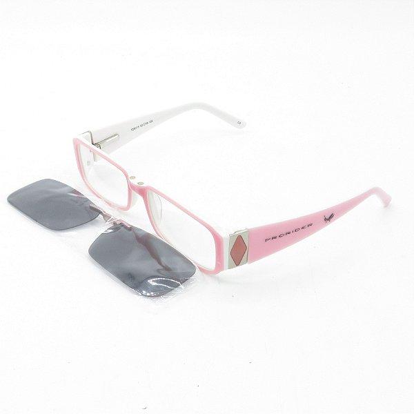 Óculos de Sol e de Grau Clip-on Retro Prorider Rosa e Branco - TD8115