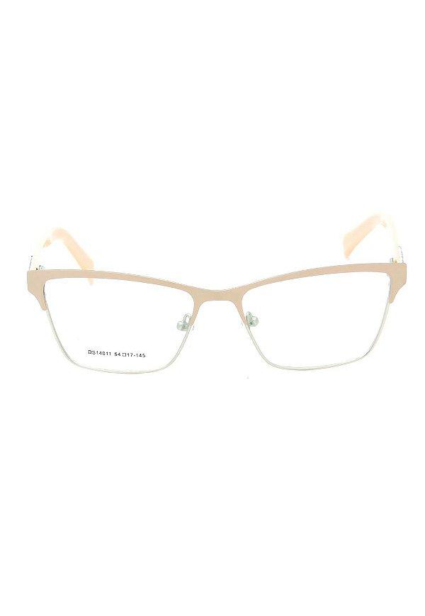 Óculos de Grau Gatinho Prorider Rosa Claro com Dourado