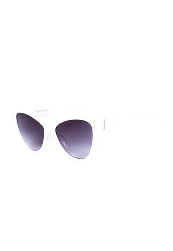 Óculos de Sol Gatinho Prorider Branco com Detalhes Dourados - CJH72066C5