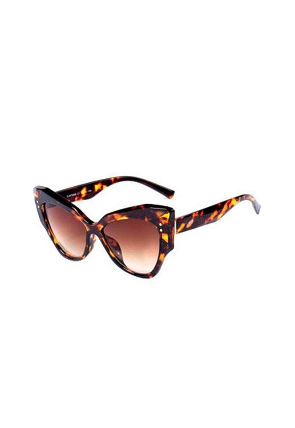 Óculos de Sol Gatinho Prorider Animal Print com Detalhes Dourados