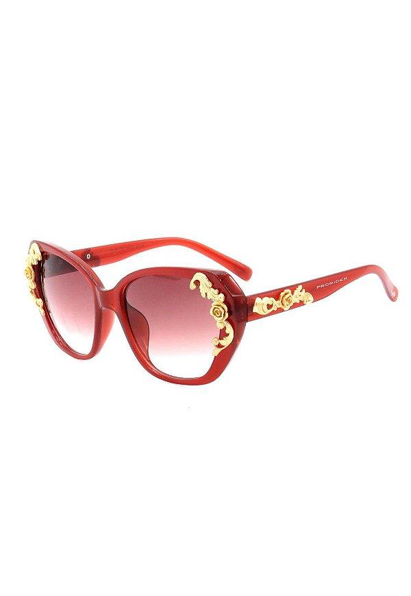 Óculos de Sol Prorider Vermelho Translúcido com Dourado Fosco