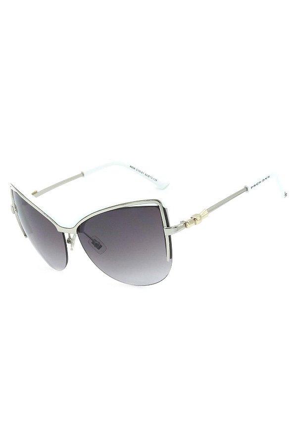 Óculos de Sol Gatinho Mascara Prorider Prata com Branco Lente Degrade