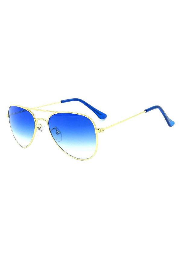 Óculos de Sol Prorider Infantil Aviador Dourado com Lente Degrade Azul - AIR