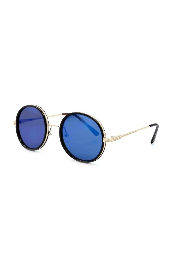 Óculos de Sol Prorider Preto com Dourado Redondo - H01452C6