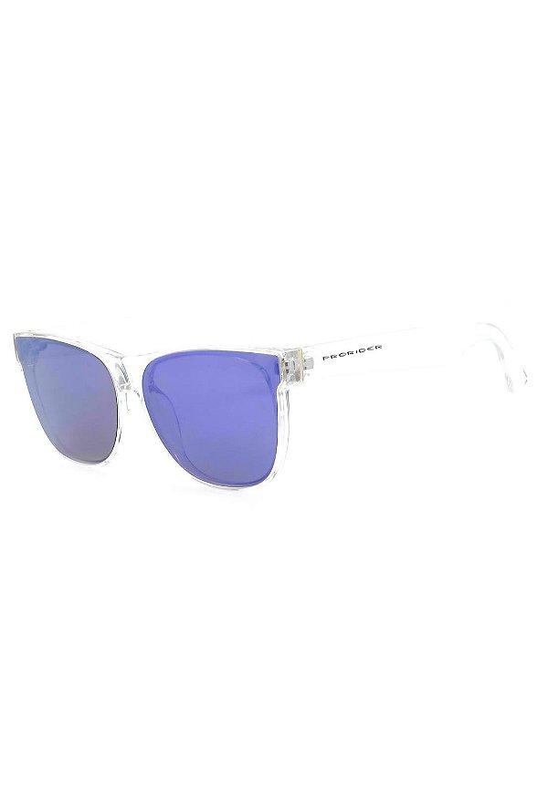 Óculos de Sol Prorider Translúcido com Lente Espelhada Azul - B88-1364