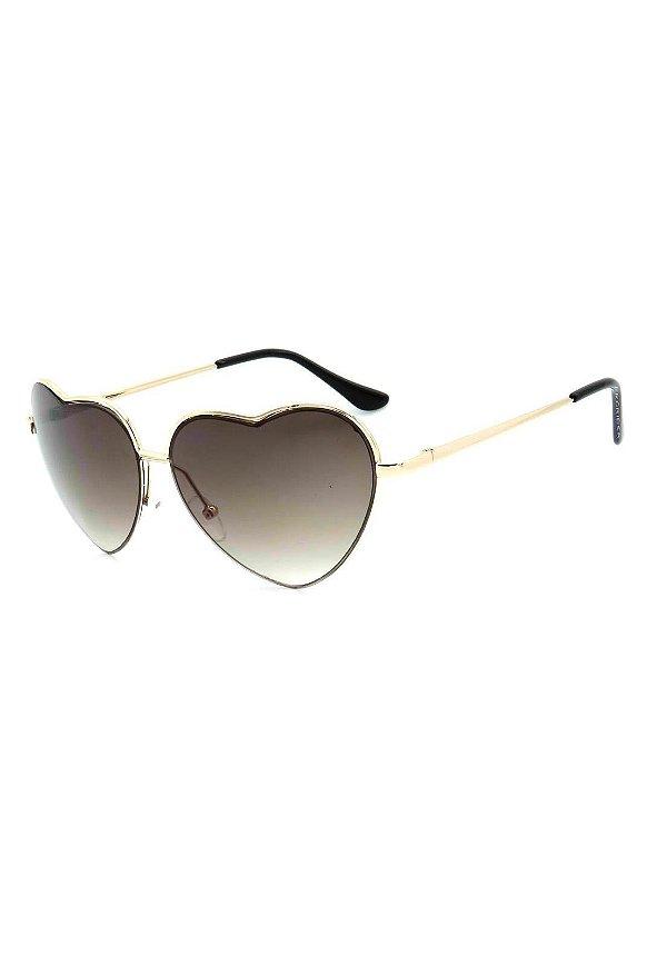 Óculos de Sol Prorider Dourado Coração com Lente Degrade - BB213C1