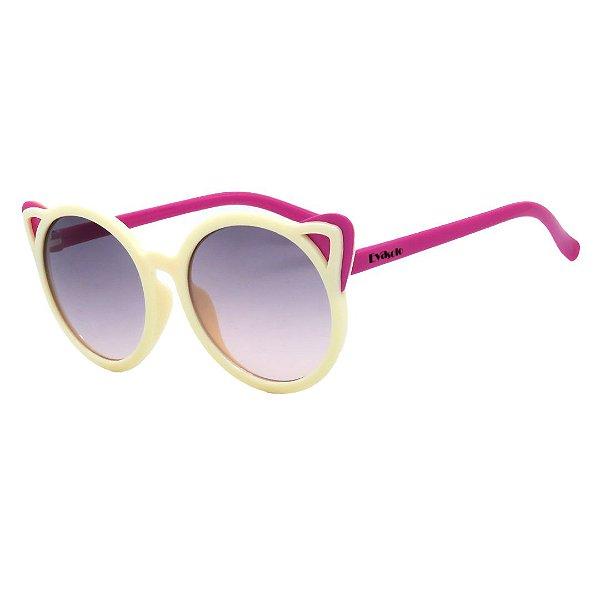 Óculos de Sol Infantil em Grilamid® TR-90 Eva Solo Redondo Branco Creme com Rosa