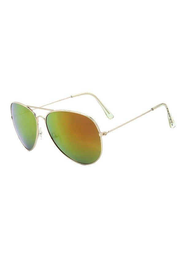 Óculos de Sol Prorider Aviador Dourado Com Lente Espelhada - 3026-4