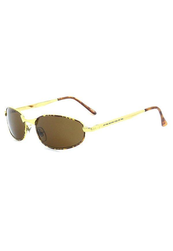 Óculos de Sol Retro Prorider Dourado com Animal Print - 20126
